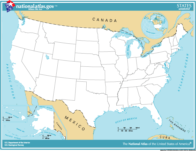 Political Organization The United States Of America - Simple map of western us